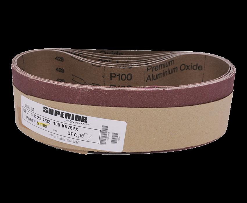 Abrasive Belt: 3 x 25-7/32 100 Grit