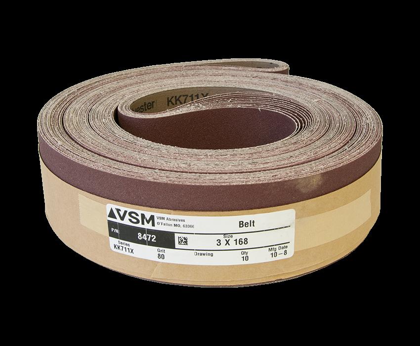 "VSM Abrasive Belt 3"" x 168"" 80 Grit A/O X Wt."