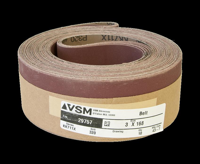 "VSM Abrasive Belt 3"" x 168"" 320 Grit A/O X Wt."