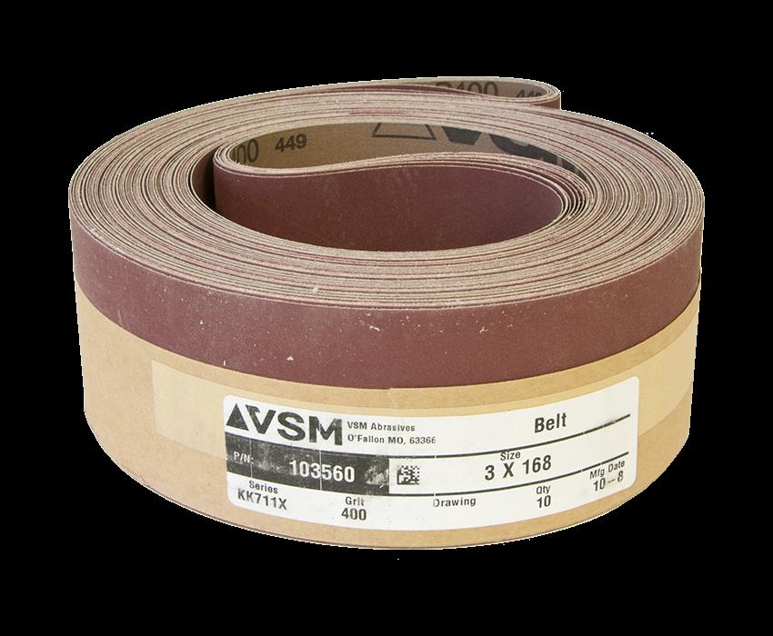 "VSM Abrasive Belt 3"" x 168"" 400 Grit A/O X Wt."