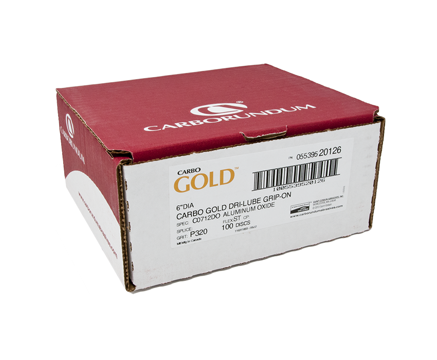 """Carbo Gold A/O 320 Grit 6"""" Grip-On Discs"""