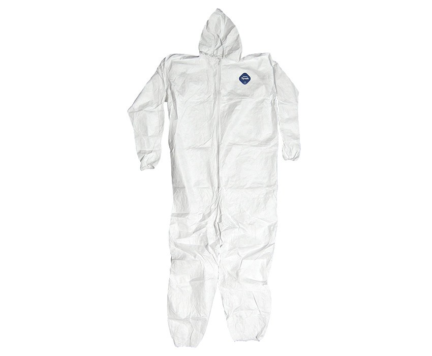 Tyvek coverall with attached hood.